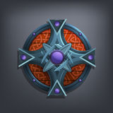 Iron fantasy shield for game or cards. vector illustration