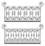 Iron fence. 2 elegant iron fences over white background stock illustration