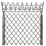 Iron fence with barbed wire on an isolated white background. 3d illustration. Iron fence with barbed wire on an isolated white background Royalty Free Stock Photography