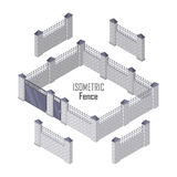 Iron Fence with Brick Columns Isolated on White. Gate with wicket in flat style design. Isometric projection. Metal gates, wrought iron, lattice gates and vector illustration