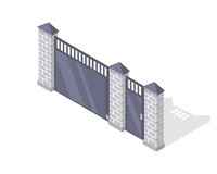 Iron Fence with Brick Columns Isolated on White. Gate with wicket in flat style design. Isometric projection. Metal gates, wrought iron, lattice gates and royalty free illustration