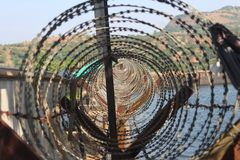 Iron fence for a dam royalty free stock image