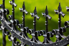 Iron Fence Detail. Black painted iron fence close up. Note: Shallow depth of field royalty free stock images