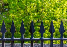 Iron fence. Detail of iron fence with green background Stock Photo