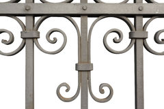 Iron fence detail isolated on white Royalty Free Stock Images
