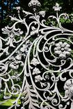 Iron Fence With Floral Decor stock photography