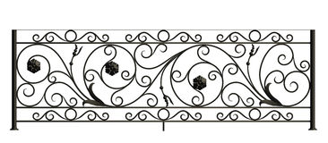 Iron fence with flowers and leaves Stock Images