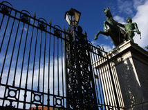 Iron fence in front of Umberto I gallery in Naples, Italy Royalty Free Stock Images