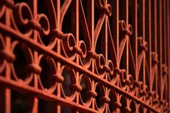 Iron fence geometric pattern.