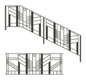Iron fences and stairs railing Royalty Free Stock Image