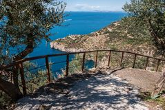 Iron fences on the steep road. From Sorrento Peninsula stock photos