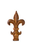 Iron Fleur-de-Lis Finial. Antique wrought iron fleur-de-lis finial isolated on a white background royalty free stock image