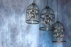Iron floor lamps as chandelier stock images
