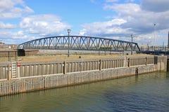 Iron Footbridge. Footbridge in Swansea harbour, Wales Royalty Free Stock Photos