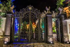 Iron forged large gate Stock Images