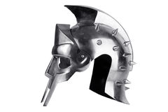 Iron forged Roman legionary helmet. On a white background Stock Image