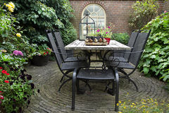 Iron forged table and chairs Royalty Free Stock Image