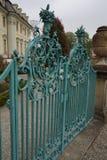 Iron gate of castle baroque stock photo