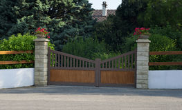 Iron gate, entrance to a front yard Stock Photo