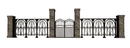 Iron gate and fence Stock Photography