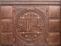 Iron gate in the form of door in safe Royalty Free Stock Photos