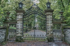 Iron gates at castle hrad Bouzov. Vintage iron gates at castle hrad Bouzov, Moravia, Czech Republic Stock Photography