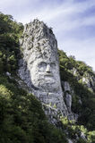 Iron Gates Natural Park, Decebal's head carved in rock Royalty Free Stock Images