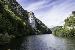 Iron Gates Natural Park, Decebal's head carved in rock Stock Image