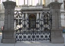 Iron Gates outside the former Boston Latin School. Freedom Trail 1635 Boston Latin School and later Old City Hall, Revolutionary War Site. Boston`s Freedom Trail royalty free stock images