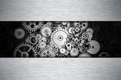 Iron Gears Metal Background. With Copy Space. Abstract Gears Background 3D illustration Royalty Free Stock Photo