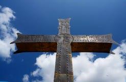 Iron georgian orthodox christian cross, traditional religious symbol Stock Images