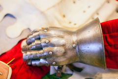Iron glove of ancient Knights armour Stock Photos