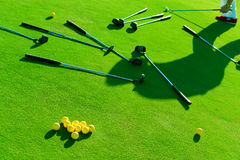 Iron golf club and golf ball on green grass Royalty Free Stock Photo