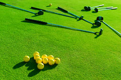 Iron golf club and golf ball on green grass Royalty Free Stock Image