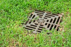 Iron grate of water drain. In grass garden field stock images