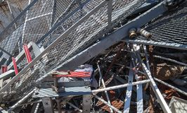 Iron grid and ferrous material in the landfill Royalty Free Stock Images