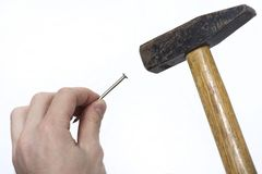 Iron hammer with wooden handle on white background royalty free stock photography
