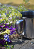 Iron handle cups with flowers Royalty Free Stock Images