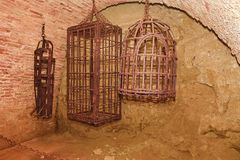 Iron hanging medieval torture cages. Medieval torture.  Royalty Free Stock Photos