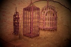 Iron hanging medieval torture cages. Medieval torture.  Royalty Free Stock Photo