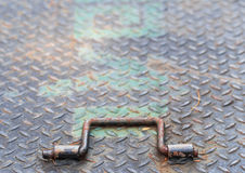 Iron hatch and handle in close up Stock Photo