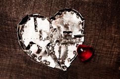 Iron heart and glass heart Royalty Free Stock Photo