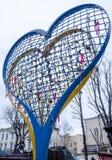 Iron heart with love padlocks in the city. Lviv Stock Photos