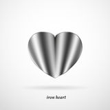 Iron heart with shadow on a white background Royalty Free Stock Photography