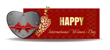 Iron heart tied with red ribbon. Vector Womens Day banner royalty free illustration