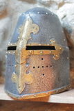 Iron helmet of the medieval knight. Stock Images