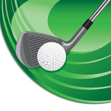 Iron hitting a golf ball. Golf club hitting a golf ball over a gradient background royalty free illustration