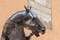 Iron horse. Head of an horse of an iron statue in the historic city of Briancon, France Royalty Free Stock Photo