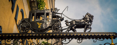 Iron horse and carriage statue Stock Image