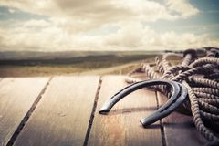 Iron horseshoe on a vintage background Royalty Free Stock Photography